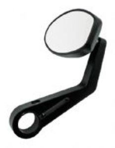 Ferrara Bar End Mirror [One]: Fits ALL 25mm & 22mm Bar End Weights [BLACK]